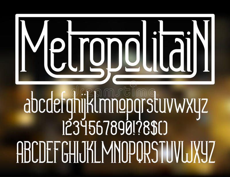Metropolitain字体 Minimalistic字体 库存例证
