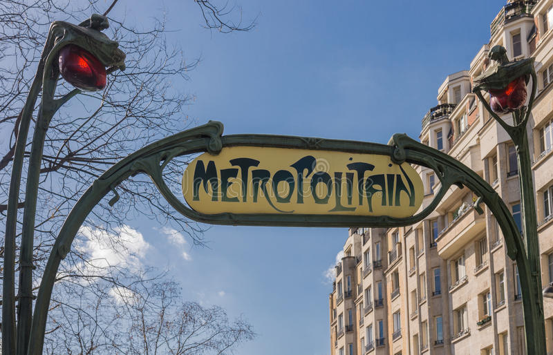 Metropolitain, famous metro sign in Paris. France stock images