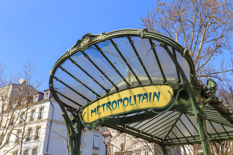 Metropolitain sign in Paris royalty free stock photo
