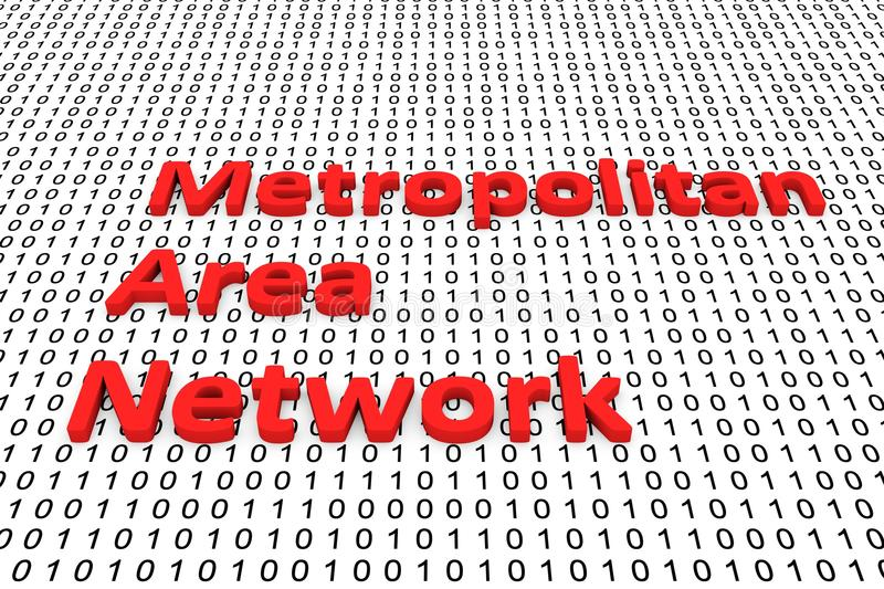 Metropolitan area network. In the form of binary code, 3D illustration royalty free illustration