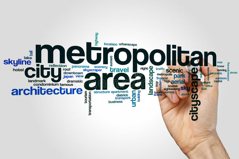 Metropolitan area word cloud royalty free stock photography