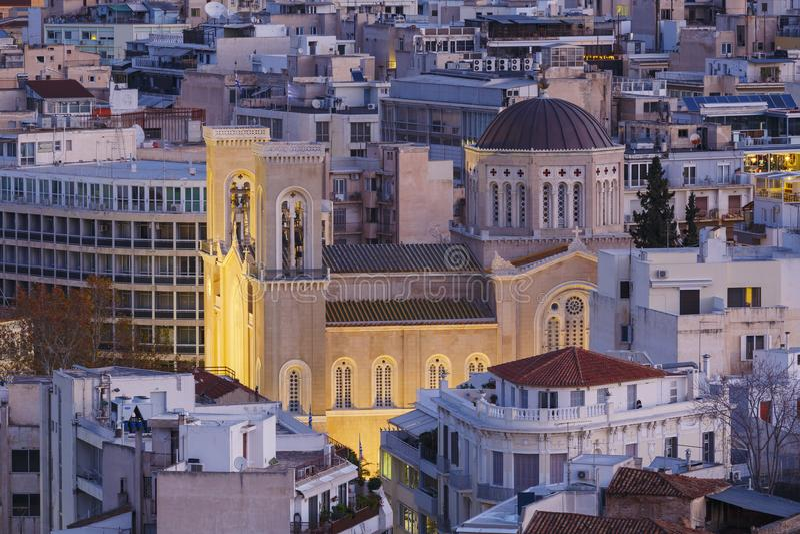Metropolitan cathedral of Athens. Metropolitan cathedral of Athens as seen from the slopes of Acropolis royalty free stock photos