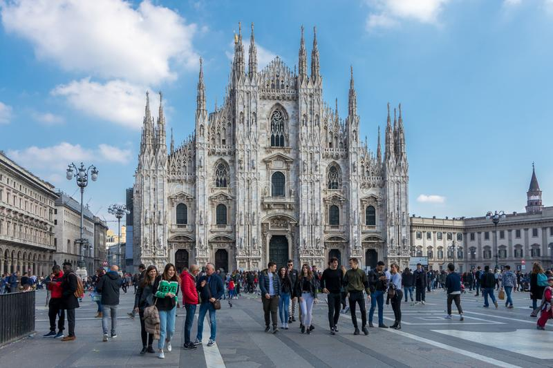 Metropolitan Cathedral-Basilica of the Nativity of Saint Mary in Milan, Italy royalty free stock photo