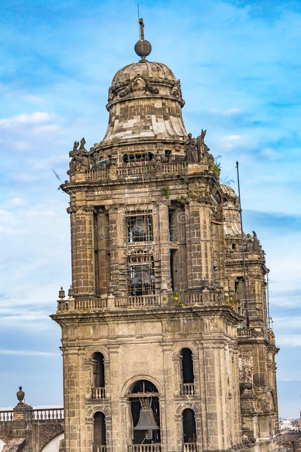 Metropolitan Cathedral Bell Towers Zocalo Mexico City Mexico stock photography