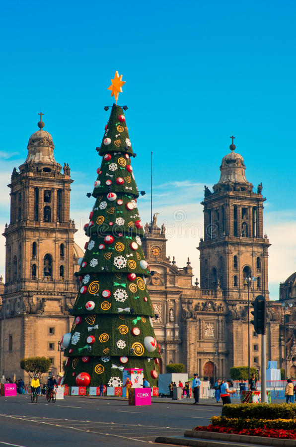 Metropolitan Cathedral and Christmas Tree Decorations in Zocalo. Mexico City stock photos