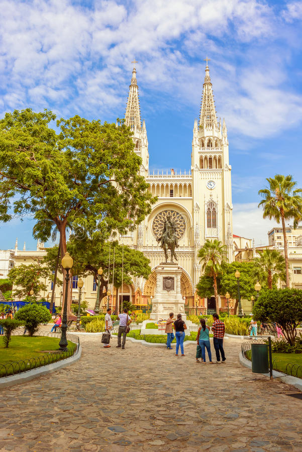 Metropolitan cathedral church and Simon Bolivar statue in Guayaquil, Ecuador. royalty free stock photography