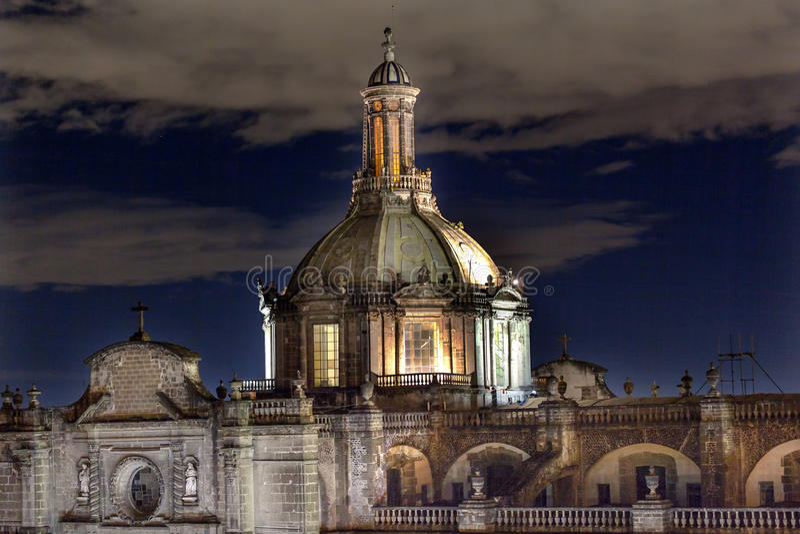 Metropolitan Cathedral Dome Zocalo Mexico City Mexico Night royalty free stock photo