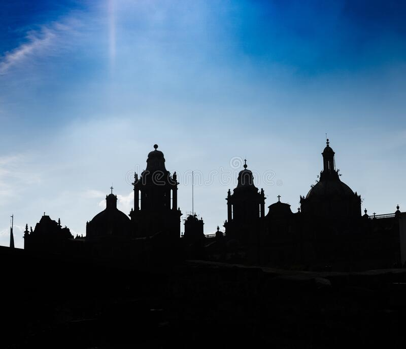 Metropolitan cathedral in Mexico city. Details of colonial architecture. Stylized travel photo. Silhouette. Wallpaper or backgroun. D. Latin america royalty free stock photos