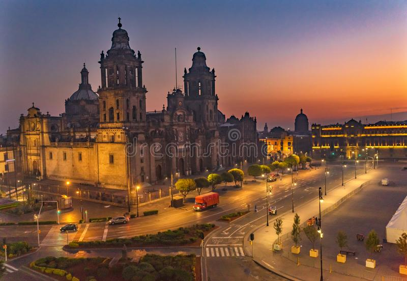 Metropolitan Cathedral Sunrise Zocalo Mexico City Mexico. Metropolitan Cathedral and President& x27;s Palace Sunrise Morning Zocalo Center of Mexico City Mexico stock photo
