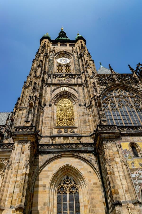 The Metropolitan Cathedral of Saints Vitus, Wenceslaus and Adalbert  commonly named St. Vitus Cathedral. Detail. The Metropolitan Cathedral of Saints Vitus royalty free stock photos