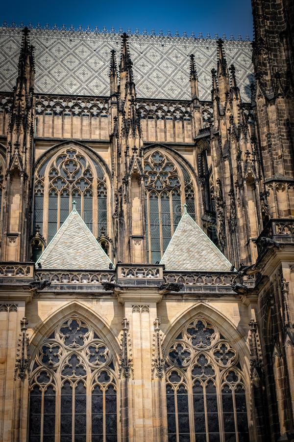 The Metropolitan Cathedral of Saints Vitus, Wenceslaus and Adalbert  commonly named St. Vitus Cathedral. Detail. The Metropolitan Cathedral of Saints Vitus royalty free stock images