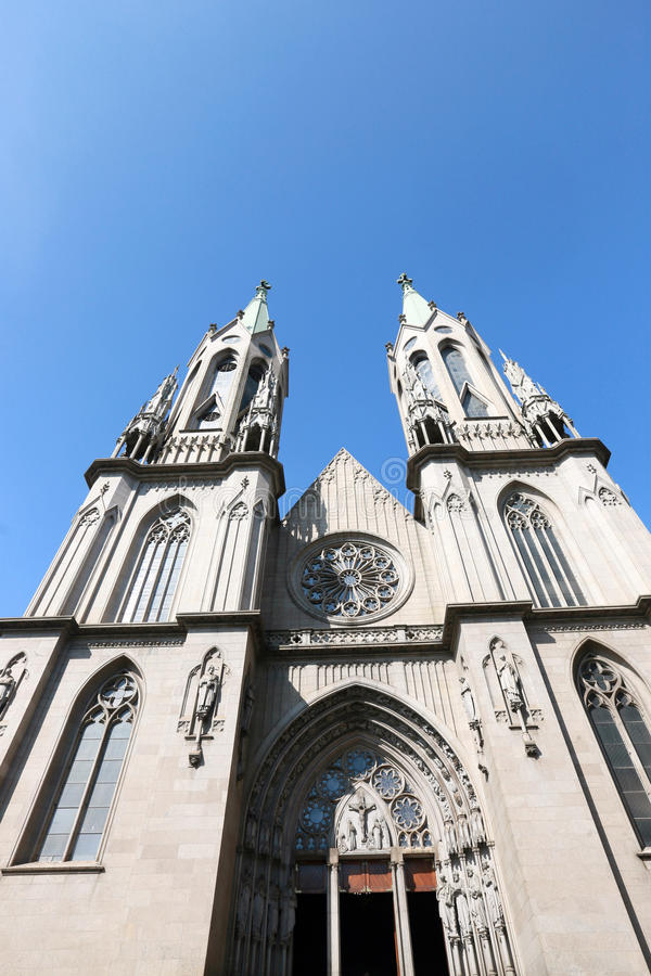 Metropolitan Cathedral or Se Cathedral in sao paulo, brazil. Metropolitan Cathedral of Sao Paulo or Se Cathedral one of the five largest neo-Gothic temples in royalty free stock images