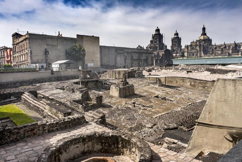 Metropolitan Cathedral Templo Mayor Zocalo Mexico City Mexico stock photo