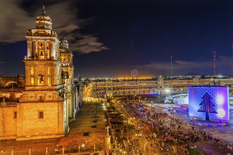 Metropolitan Cathedral Zocalo Mexico City Christmas Night. Metropolitan Cathedral and President's Palace in Zocalo, Center of Mexico City Christmas Night Mexico stock photo