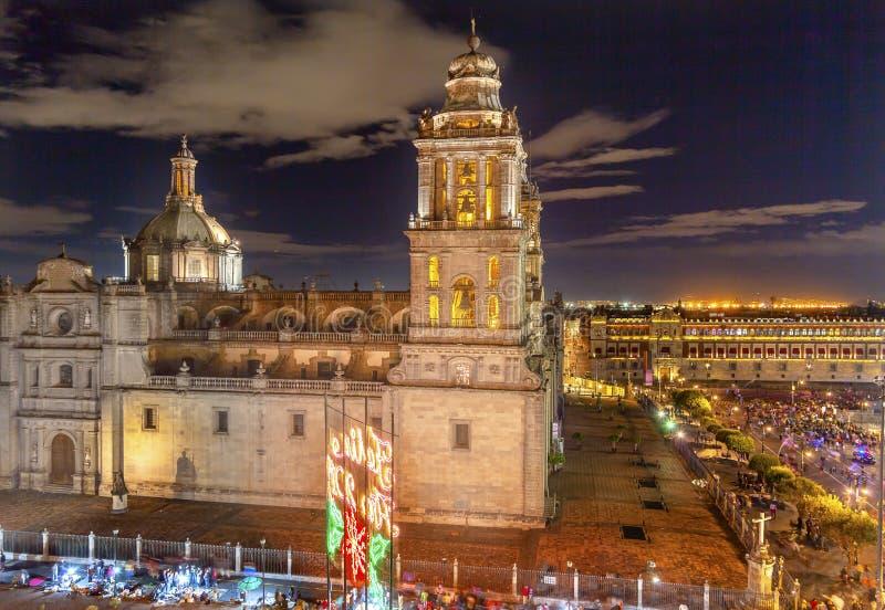 Metropolitan Cathedral Zocalo Mexico City Mexico Christmas Night. Metropolitan Cathedral and President's Palace in Zocalo, Center of Mexico City Mexico Christmas stock photography