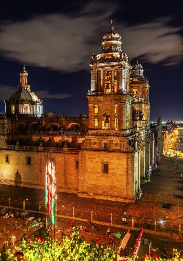 Metropolitan Cathedral Zocalo Mexico City Mexico at Night. Metropolitan Cathedral and President's Palace in Zocalo, Center of Mexico City Mexico at Night royalty free stock photo