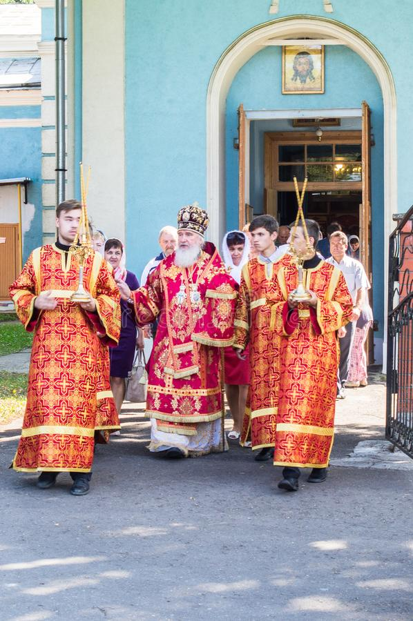 The Metropolitan celebrated the divine Liturgy in the Russian Orthodox Church. royalty free stock image