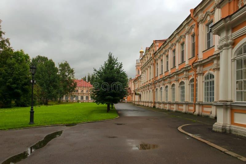 Metropolitan Corps. Holy Trinity Alexander Nevsky Lavra, St. Petersburg. Rainy day royalty free stock images