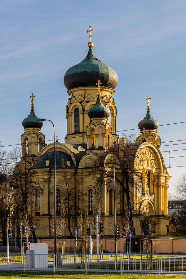 The Metropolitan Council of the Holy Equal to the Apostles of Mary Magdalene. Cathedral built in 1869 on a Greek cross is the main Polish Orthodox Church in stock photos