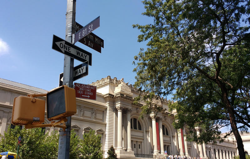 The Metropolitan Museum of Art, the Met, 5th Avenue, Museum Mile, East 81st Street, Street Signs, New York City, USA royalty free stock image