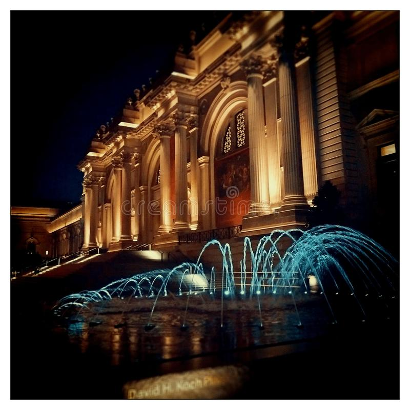 Metropolitan Musuem New York. The Metropolitan Museum in New York at night Met Metro NY pillars royalty free stock image