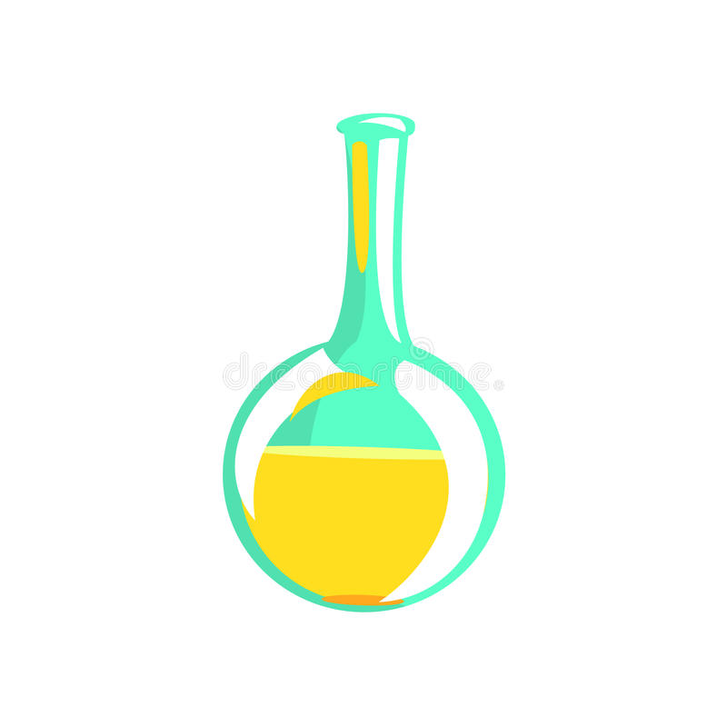 Metropolitana della prova di laboratorio con liquido giallo, parte dell'oggetto di Equipment Set Isolated dello scienziato del ch illustrazione vettoriale