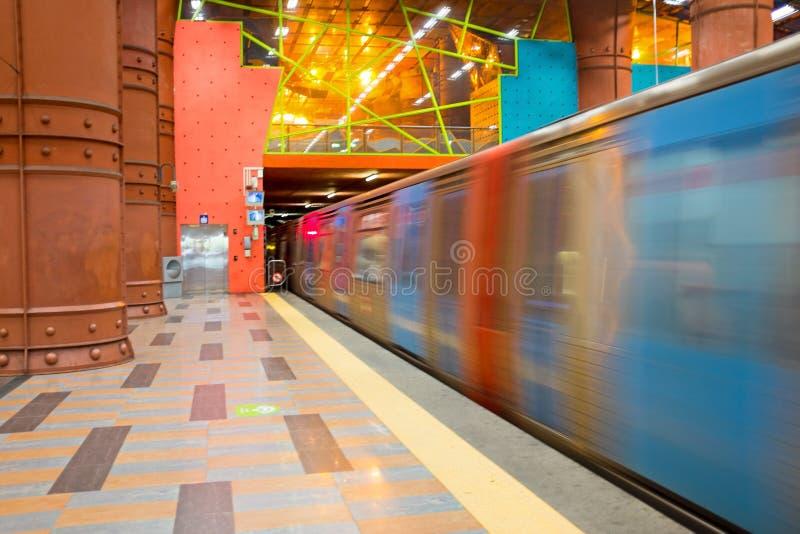 Metropolitana di velocità veloce a Lisbona Portogallo immagine stock libera da diritti