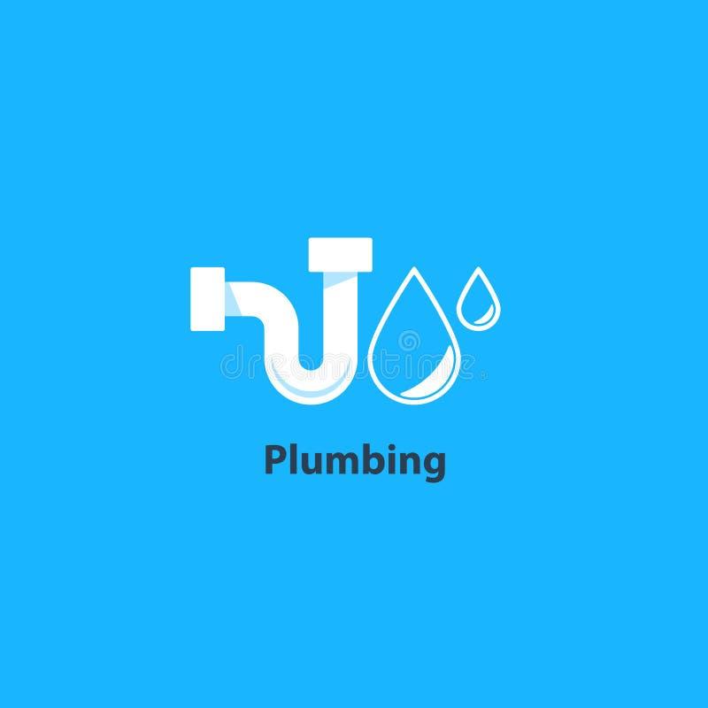 Metropolitana e logo dell'impianto idraulico di goccia illustrazione vettoriale