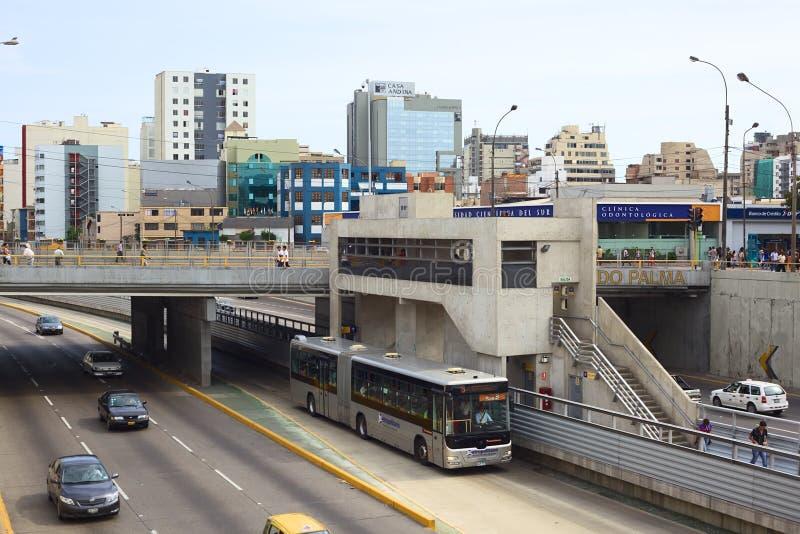 Metropolitano Bus in Lima, Peru royalty free stock image