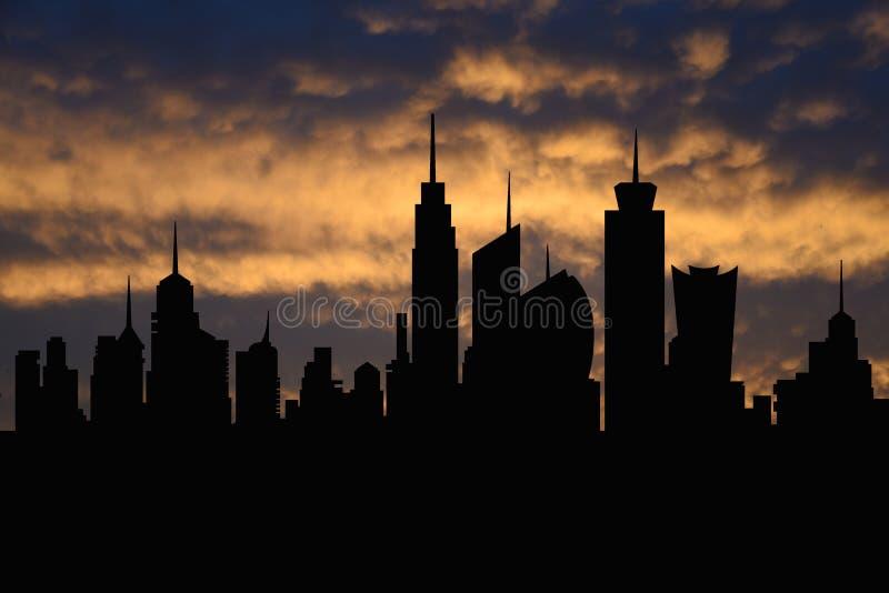 Metropool van de horizon de ideale stad met zonsondergang, cityscape silhouet, wolkenkrabbersillustratie vector illustratie