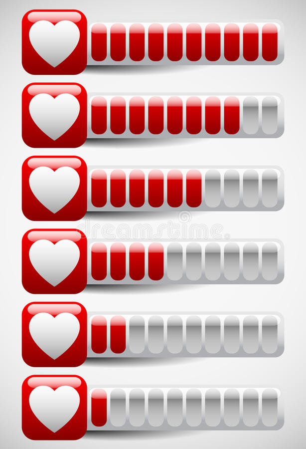 Metros con formas del corazón Metro del amor, puntos de la salud en ordenador ilustración del vector
