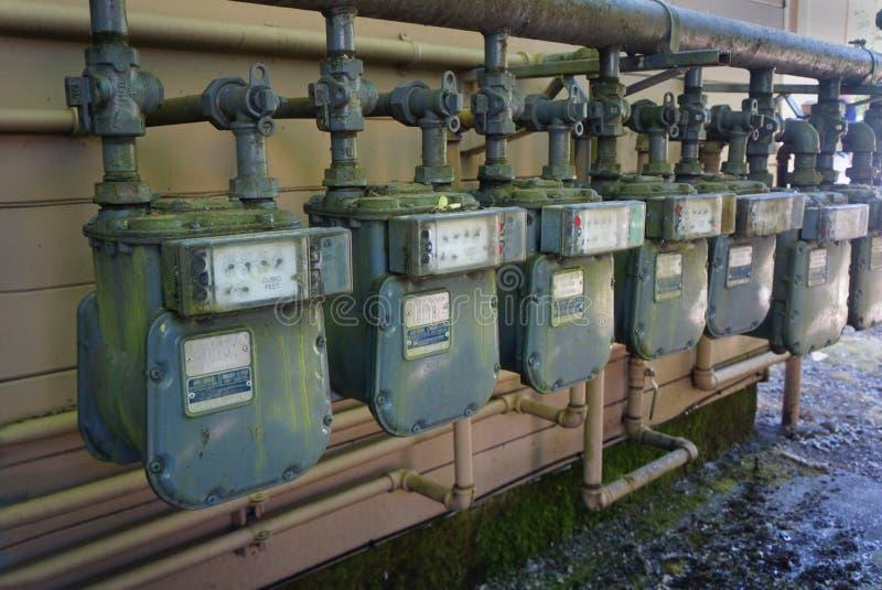 Metros de gas residenciales imágenes de archivo libres de regalías