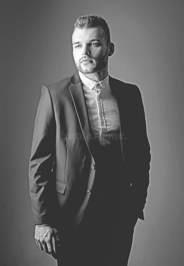 Metrosexual. Elegant man in suit. Modern man suit fashion. Man in classic suit shirt. Business confident. Portrait of stock photos
