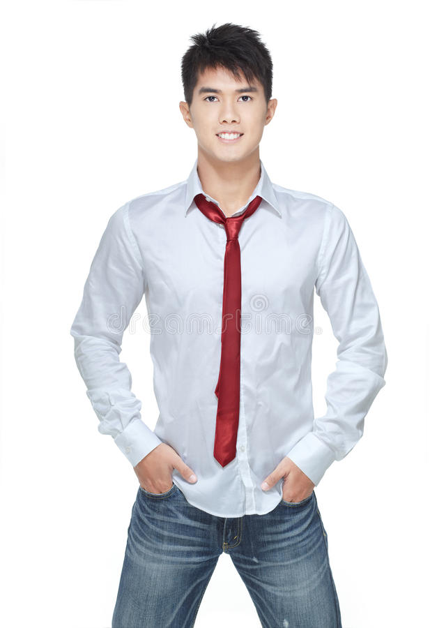 Metrosexual, hunk cinese bello in camicia bianca fotografia stock