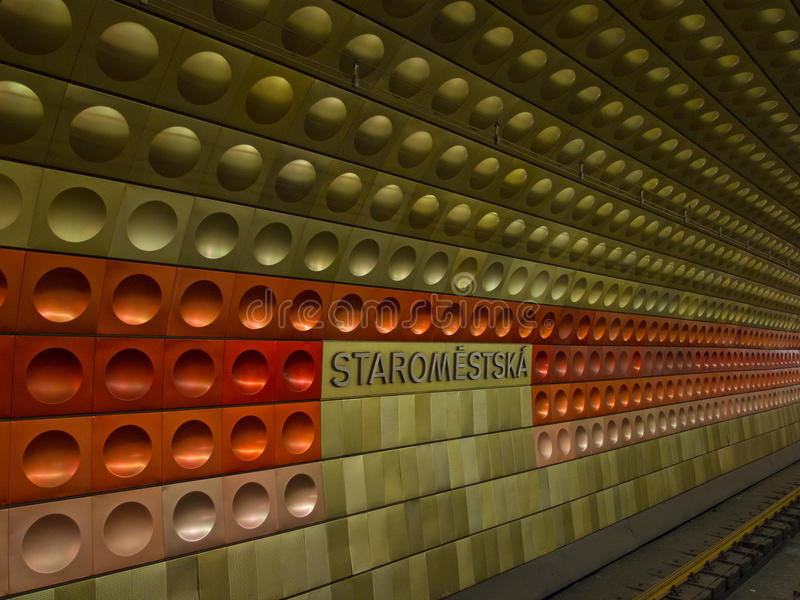Metrostation i Prague royaltyfria bilder