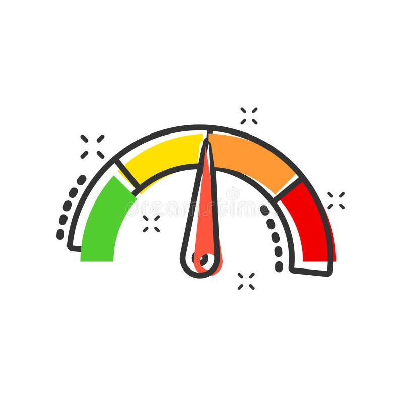 Metrowa deski rozdzielczej ikona w komiczka stylu Kredytowego wynika wskaźnika pozioma kreskówki ilustracji wektorowy piktogram W ilustracja wektor
