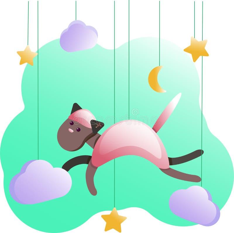 Metryczny kot dla dziecko pokoju, kartki z pozdrowieniami, dzieciaki, dziecko koszulki i odzież, pepiniery ilustracja royalty ilustracja