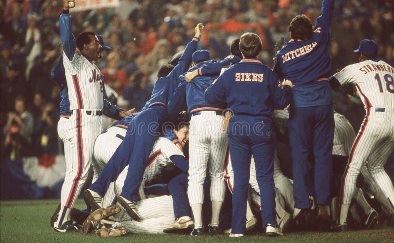 Mets vince 1986 campionati di baseball immagini stock libere da diritti
