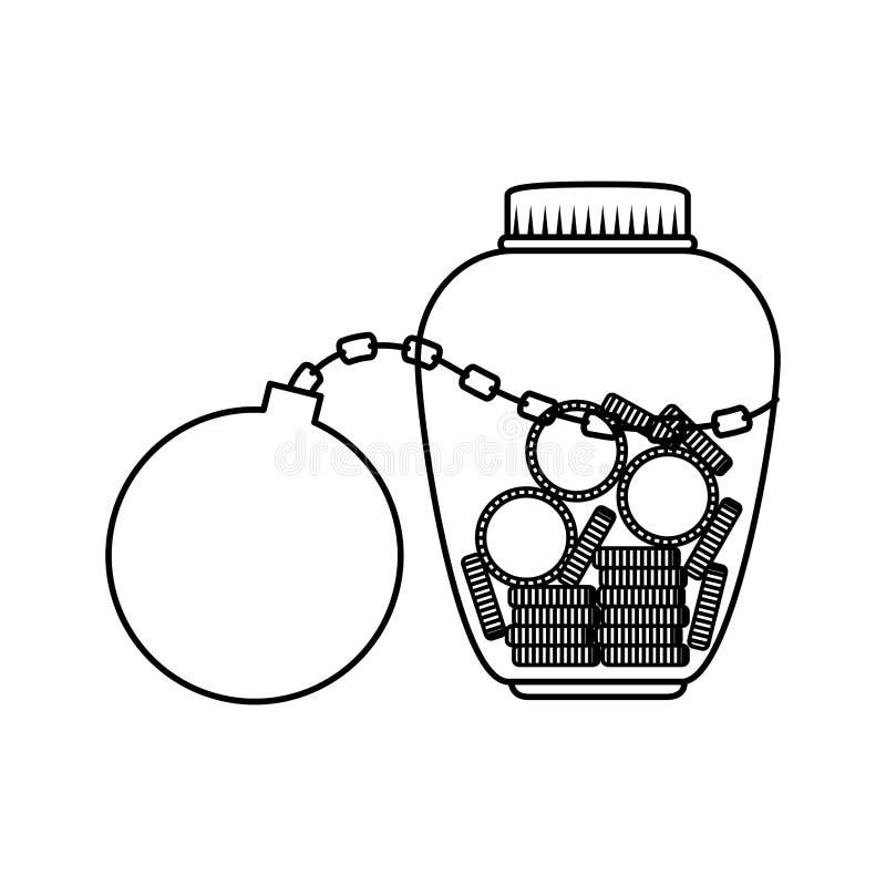 Metselaarkruik met muntstukken en slavenbal vector illustratie