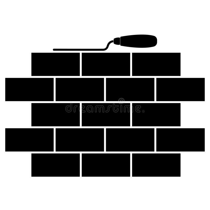 Metselwerk en het pictogram van de de bouwtroffel Metselwerk vlak embleem Eenvoudig beeld van baksteenmetselwerk vector illustratie