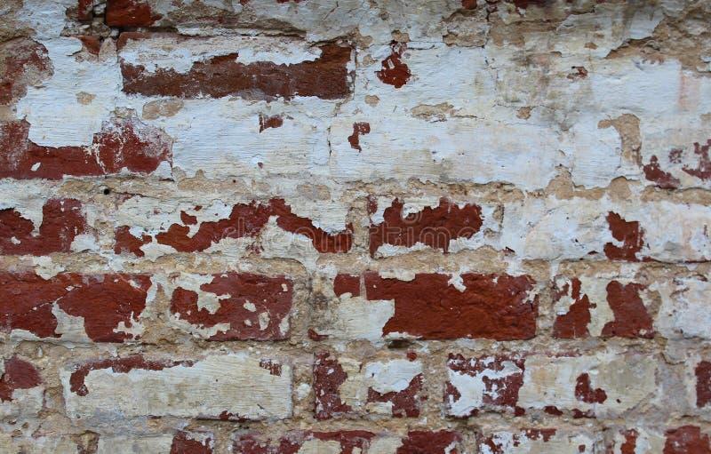 Metselwerk van de textuur het oude schil van rode baksteen stock fotografie