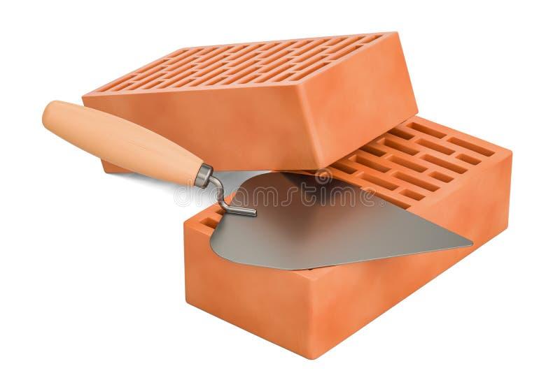 Metselwerktroffel met bakstenen, bouwconcept het 3d teruggeven stock illustratie