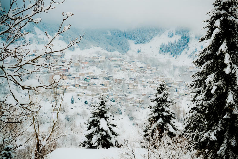 Metsovo Greece. Covered in snow in winter stock photography