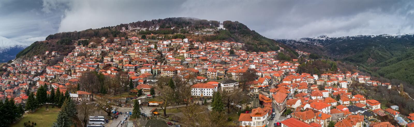 Aerial view of the village Metsovo in Epirus, northern Greece stock photos