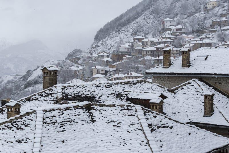 Metsovo Ioannina Griechenland, schneiend stockbild