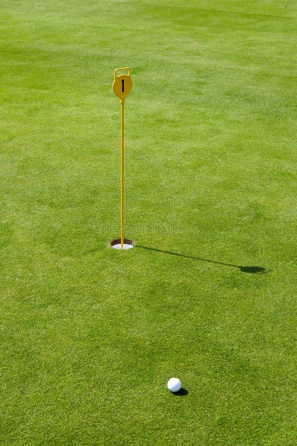 Metta al terreno da golf con la bandierina ed il verde immagine stock libera da diritti
