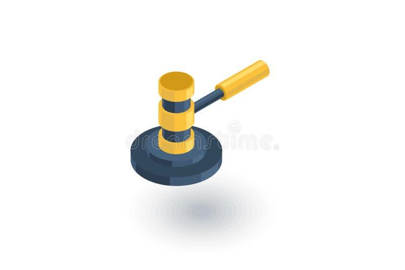 Metta all'asta il simbolo del martello, di legge e della giustizia, icona piana isometrica di verdetto vettore 3d royalty illustrazione gratis