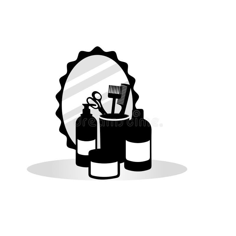 Metta in bianco e nero degli accessori di lavoro di parrucchiere: specchio, barattoli su un fondo bianco illustrazione vettoriale