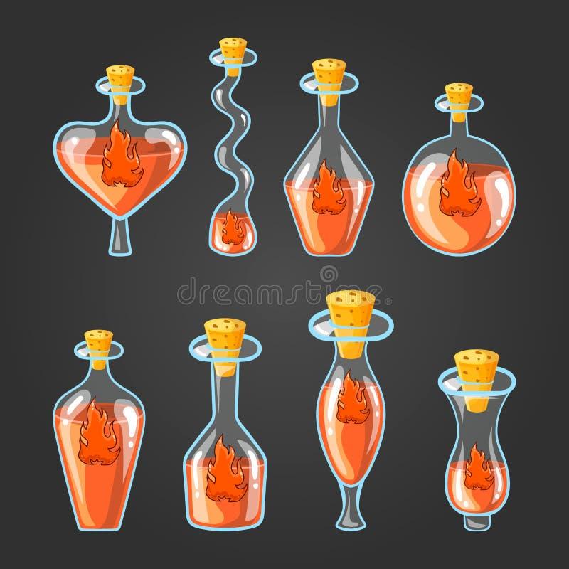 Metta con differenti bottiglie della pozione della fiamma illustrazione di stock