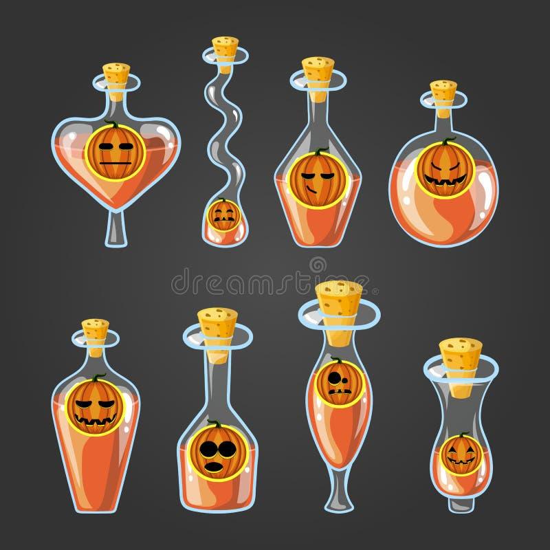 Metta con differenti bottiglie della pozione della zucca royalty illustrazione gratis